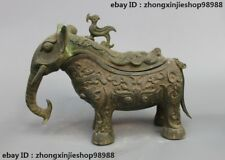 Chinese Bronze Ware Dragon Phoenix Dynasty Lucky Elephant Zun Incense Burner