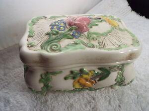 RARE Vintage M.HOLT Ceramic Colorful Flower Trinket Box