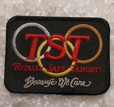 "TST Patch - Totally Safe Target - Because We Care - 3 1/2"" x 2 3/4"""