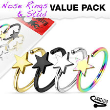 4 Pc Pack Of Titanium IP Surgical Steel Star Shape Nose Hoop Rings 20G 5/16""
