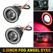 "Pair Red 2.5"" 64MM Car COB LED Fog Light Projector Angel Eyes Halo Ring DRL Lamp"