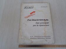 MANUALE ORIGINALE 1973 DATI RIPARAZIONE FIAT 124 ABARTH RALLY