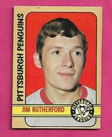 1972-73 OPC  #  15 PENGUINS JIM RUTHERFORD GOALIE ROOKIE VG+ CARD (INV# D3858)