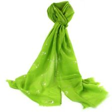 Lime Green Cactus Scarf Silver Glitter Foil Plant Wrap Shawl Scarves Summer New