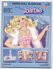 Vintage Whitman PINK & PRETTY BARBIE PAPER DOLL PLAYBOOK 1983 uncut/Fashion Show