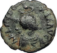 EUDOXIA Arcadius Wife 401AD Authentic Ancient Roman Coin VICTORY CHI-RHO i67745