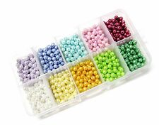 900 pcs Mix 10 colors Pearl Round Glass Bead Box 4mm New Pink Blue White Green