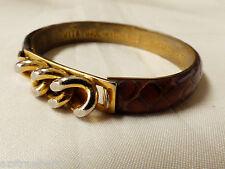 VTG VITA Florence Italy Jewelry Brown Leather Snakeskin 24 KT GP bangle Bracelet