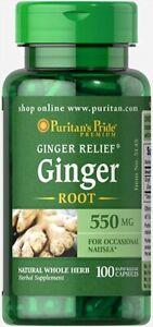 Puritan's Pride Ginger Root 550 mg 100 Rapid Release Capsules