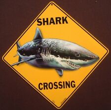 Shark Crossing Sign 16 1/2 by 16 1/2 New Decor painting fish sharks home signs