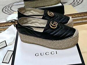 100% Originale Gucci Doppel G Espadrille aus Leder in Gr. 38,5