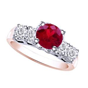 0.7 Carat Red SI2 Round Diamond Solitaire Ring 14K Rose Gold -IGI-