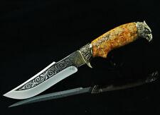UNIQUE CUSTOM HANDMADE KNIFE CANADIAN MAPLE BURL * USA EAGLE * + LEATHER SHEATH
