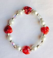 Beautiful Ruby Red  Millefiore Glass Heart Pearl & Crystal  Bracelet