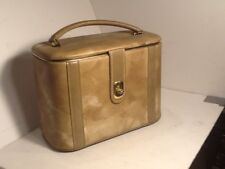 VINTAGE Cosmetic Case With mounted mirror Tan suit case