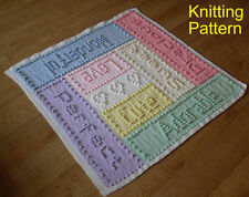 KNITTING PATTERN Baby Blanket - Sweet Dreams - Bobble Words - Plain & Intarsia