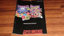 Tetris & Dr. Mario - Instruction Booklet for Super Nintendo SNES - Manual ONLY