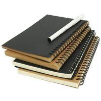 Spiral Bound Coil Sketch Book Blank Kraft Sketching Paper Hard Back New