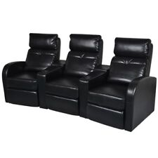 Black Artificial Leather 3 Seat Home Theater Recliner Sofa Lounge W/Cup  Holder