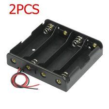 2pc Black Plastic Battery Holder Storage Case w Wire for 4x 18650 14.8V Battery