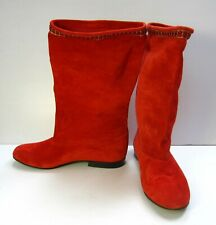 Vero Cusio RARE Mid Calf High Round Toe Boots Suede Sz 38 Red Made in Italy