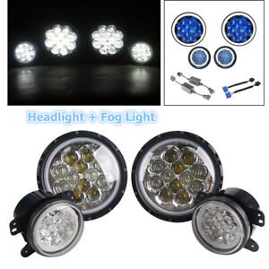 Halo LED Headlights+Halo LED Fog Lights Combo Kit Set of 4 For Jeep Wrangler JK