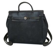 Authentic HERMES Her Bag Black Canv
