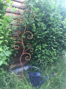 Edelrost Ampelhalter schlicht 145 cm Gartenstecker Rankstab Rost Metall Garten