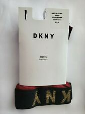 DKNY Women's Lurex Ribbed Control-Top Tights Crimson/Gold Medium