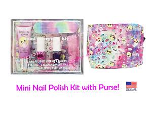 Mini Nail Polish Kit with Purse, Pink Lip gloss, Glitter Hair Tie, Nail File
