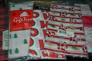 5 Gift Printed Paper Tissue Packs CHRISTMAS SANTA TREES HO HO HO RED PLAID