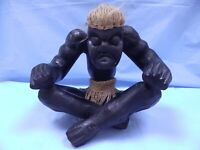 Wooden Carved African Folk Art Statue Tribal Sitting Strong Man Shaman Figure