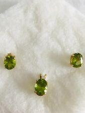 Set of Peridot Earrings & Pendant pierced earrings 14k gold Peridot gemstone