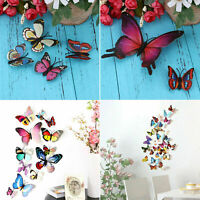 24 PCS 3D Colorful DIY Butterfly Wall Stickers Art Design Decal with Magnets New