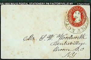 1855 COVER W/U10 POSTAL STATIONERY DIAL HAND STAMPED CANCEL PM FACTRYV NY