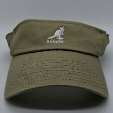KANGOL Embroidered Logo Visor Cotton Twill Strapback Cap Beige Khaki One Size
