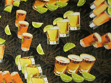 TEQUILA SHOTS GLASSES ALCOHOL LIME FRUIT COTTON FABRIC FQ