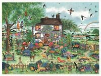 Whippet greyhound Dog Garden Watercolor/ink  painting 50 Dogs By Bridgette Lee