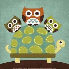 THREE OWLS ON TURTLE ART PRINT NANCY LEE 12x12 poster cute kid childrens room