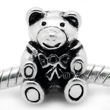 Teddy Bear European Charm Bead For European Charm Bracelet And Necklace Chains