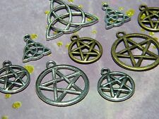9 WICCAN Loose Charms Mixed SYMBOLS Sample TRIQUETRA Pentacle Pentagram PAGAN