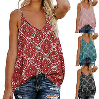 Women Sling V Neck Sleeveless Strap Print Down Front Casual Loose Shirts Tops