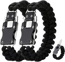 2 Pack Paracord Knife Bracelet Tactical Survival Cord Bracelets, Multi-tool