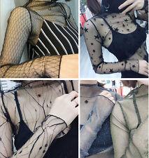 Ladies Sheer Crew Neck Transparent Mesh Bodycon Blouse T-shirt Tops Clubwear