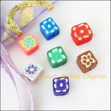 50Pcs Misti Polimero FIMO CLAY Quadrato Cubo Spacer Beads CHARMS 6mm