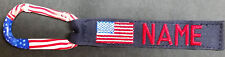 """SET OF 3 AMERICAN FLAG NAVY BLUE 1 X 6 """" LUGGAGE TAG WITH YOUR NAME W/ CARABINER"""