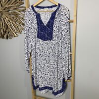 Life & Style Size 14 L Blue Tunic Dress Long Sleeve Floral Boho Hippie Gypsy