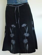 NWT Womens Linen Blend Flared Black Skirt 14 Size 16 L Unlined Summer Ladies NEW