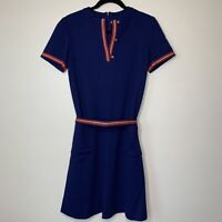 Women's Vtg David Crystal Lacoste Belted Dress Size 8 Navy Pockets Zip Back USA