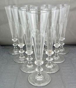 10 schöne alte Gläser Sektflöten   ca.um 1850